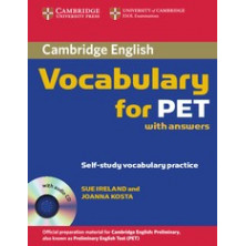 Vocabulary for PET with answers + CD - Cambridge